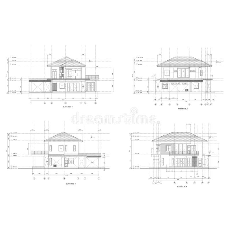 4 elevation house Drawing stock illustration. Illustration