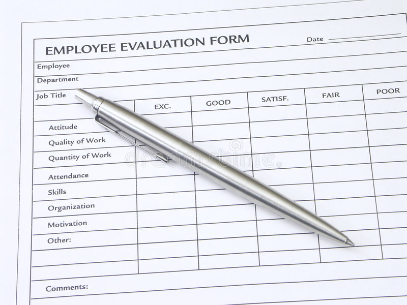 Employee Evaluation Form stock image. Image of economy