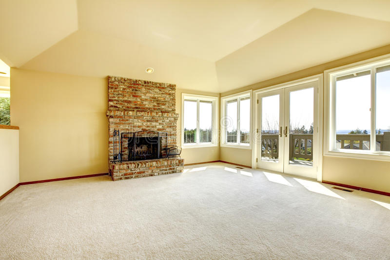 Empty Living Room With A Fireplace Stock Photo Image