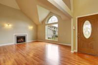 Empty Living Room With Fireplace Nd Big Arch Window Stock ...