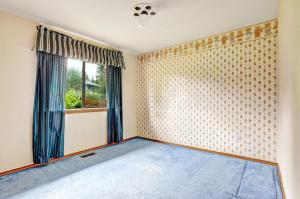 empty carpet borders floor dated bedroom paintable curtains border moulding trim brigh wall 1980s wallpapersafari comeback while making