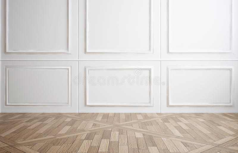 Empty Room With White Wood Paneling Stock Image