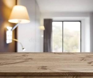 hotel background table simple interior wooden empty defocused