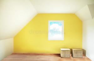 empty yellow painted interior wall paint bedroom bright