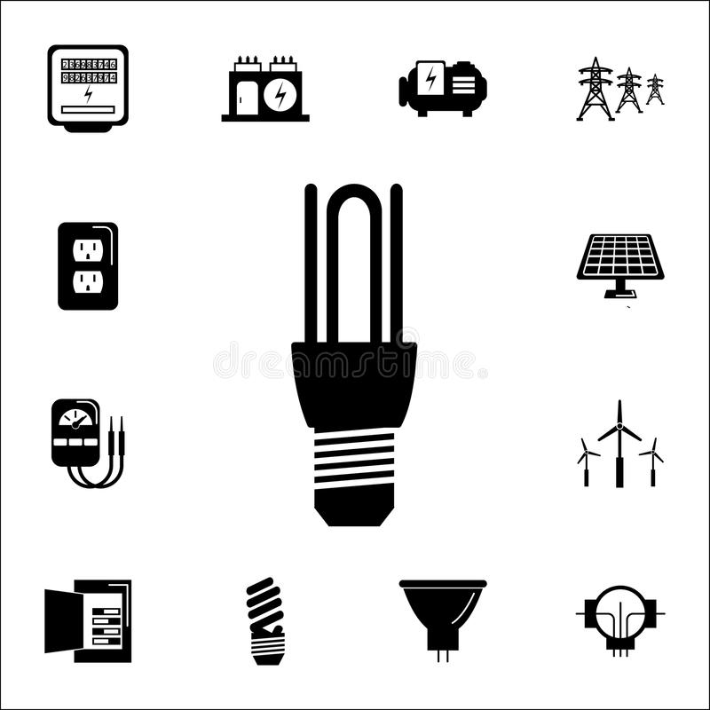 LED Energy Saving Lamp Bulb Symbols Stock Vector