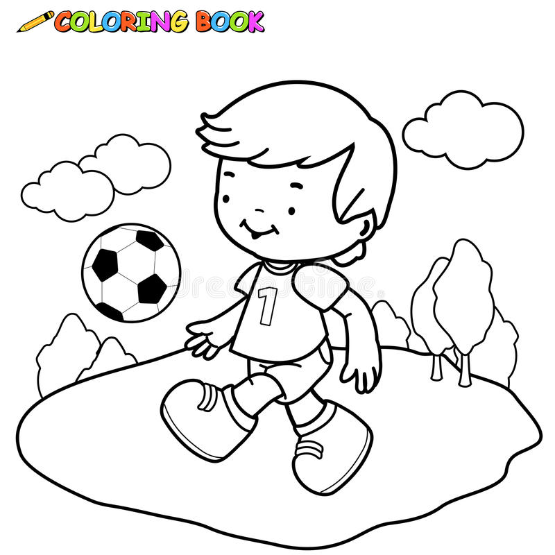 Coloring Page Outline Of A Boy Kicking A Soccer Ball Stock