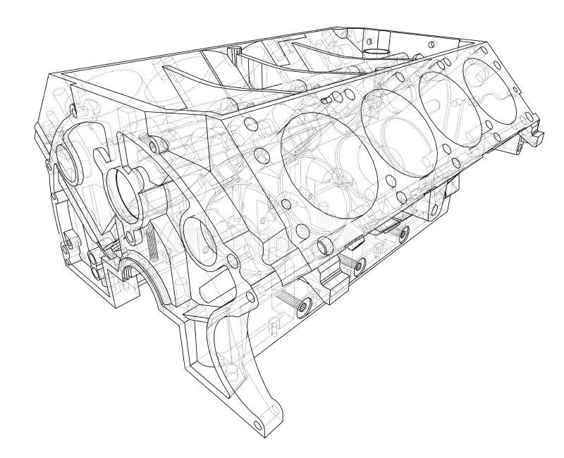Engine Block Sketch. Vector Rendering Of 3d Stock Vector
