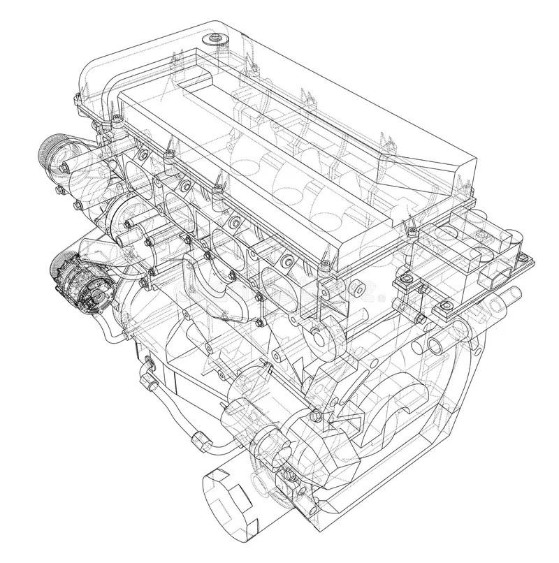Car Engine. Vector Rendering Of 3d Stock Vector