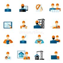 Engineer Icons Flat Stock Vector. Illustration Of