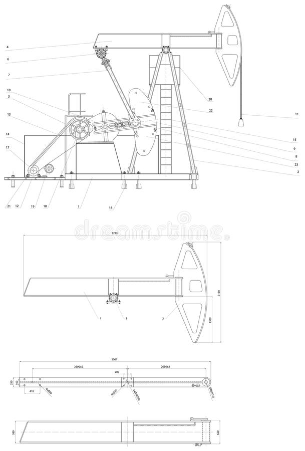 Engineering Drawing Of The Pumping Unit Stock Illustration
