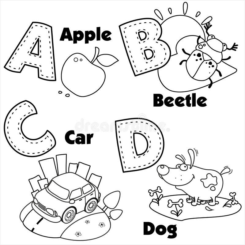 English Alphabet And The Letters A, B, C And D Stock