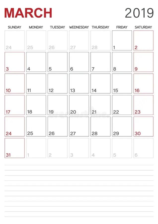 March Month Calendar 2019 English USA Stock Vector