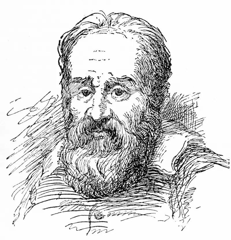 Engraved Portrait Of Galileo Galilei Stock Illustration
