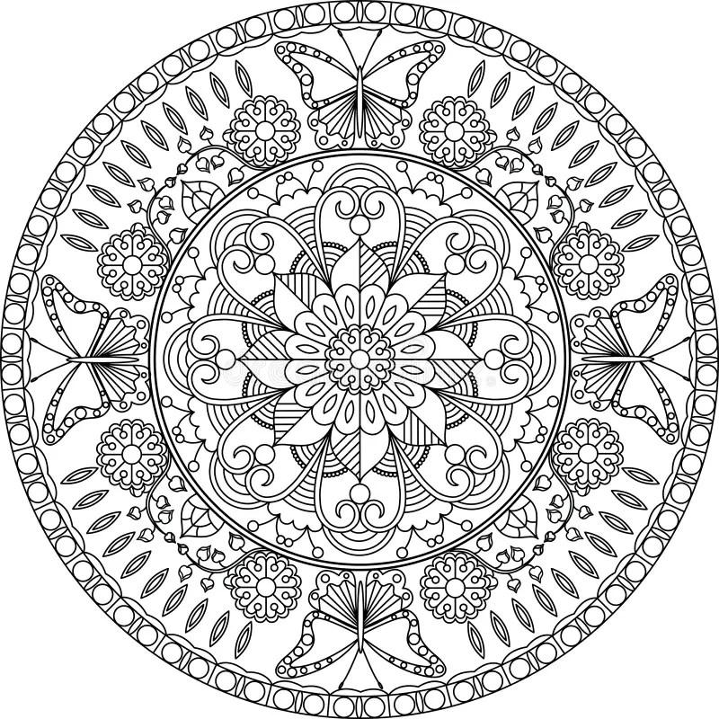 Erwachsene Farbtonseite Mandala Mit Blumen Und