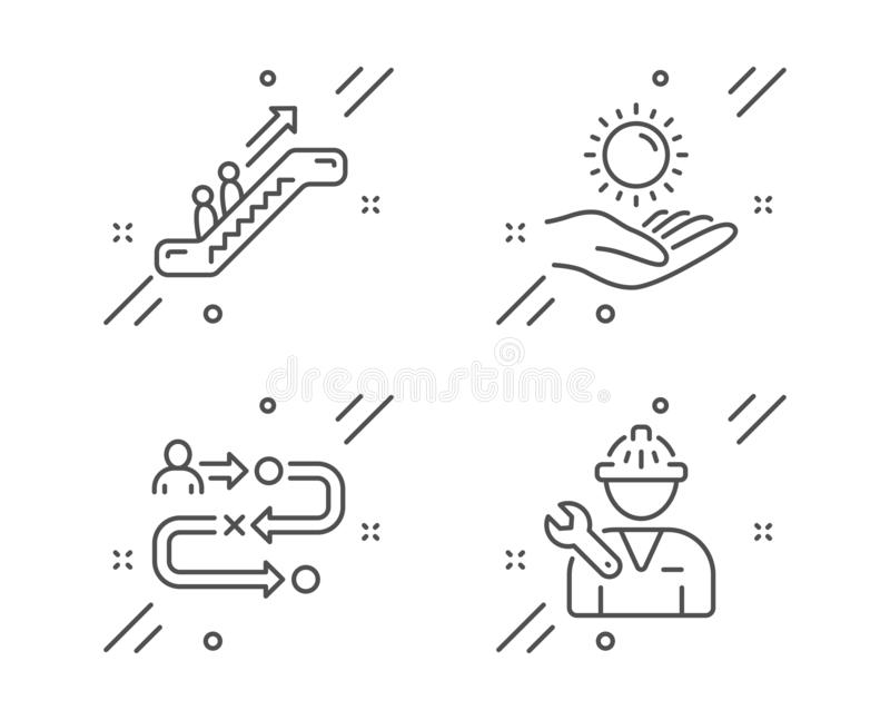 Elevator, Repairman And Success Business Icons Set. Good