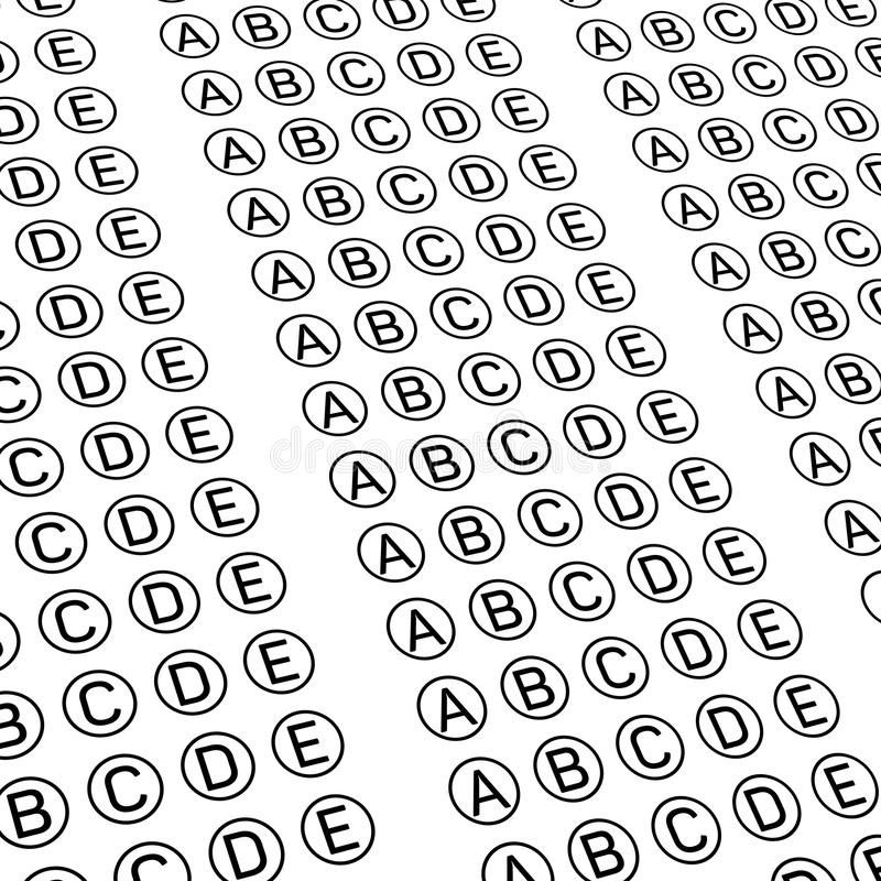 Multiple Choice Bubble Answer Sheet Stock Illustrations