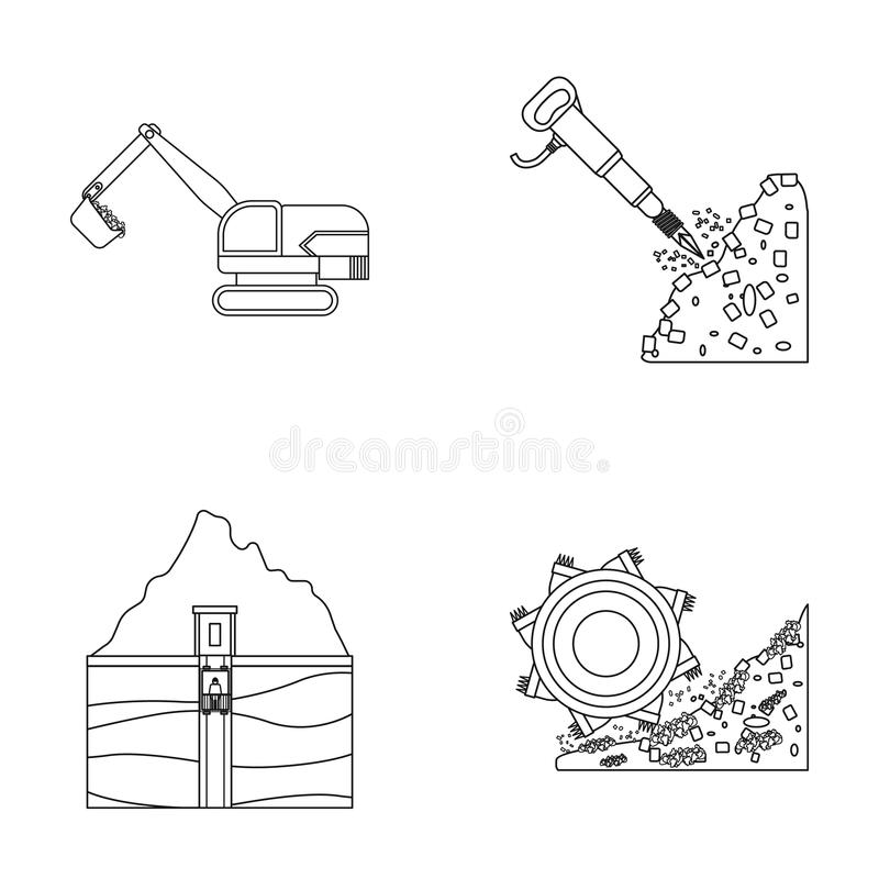 Coal Mining Icons Set, Outline Style Stock Vector