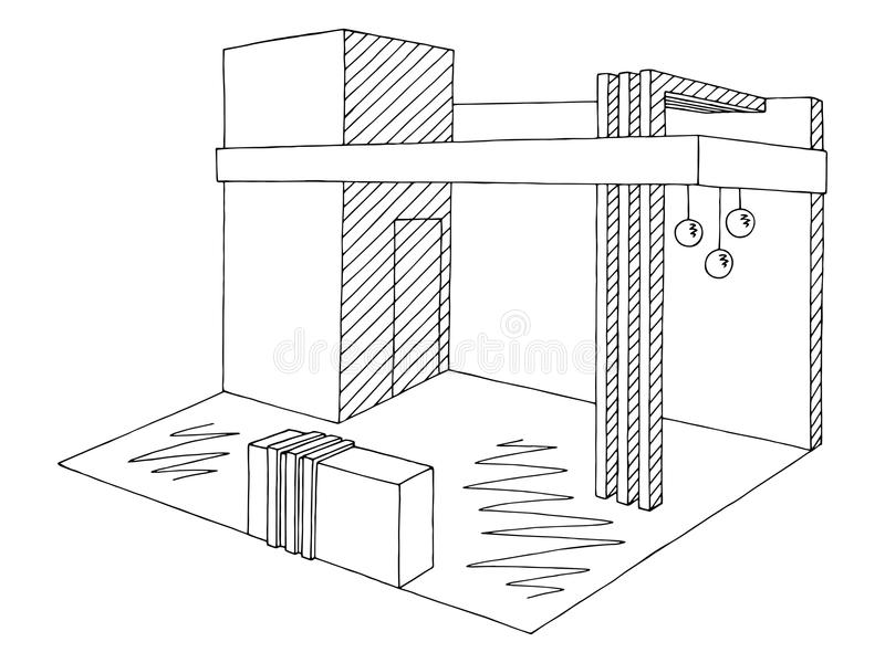 Outline Sketch Of A Interior Reception Area Stock
