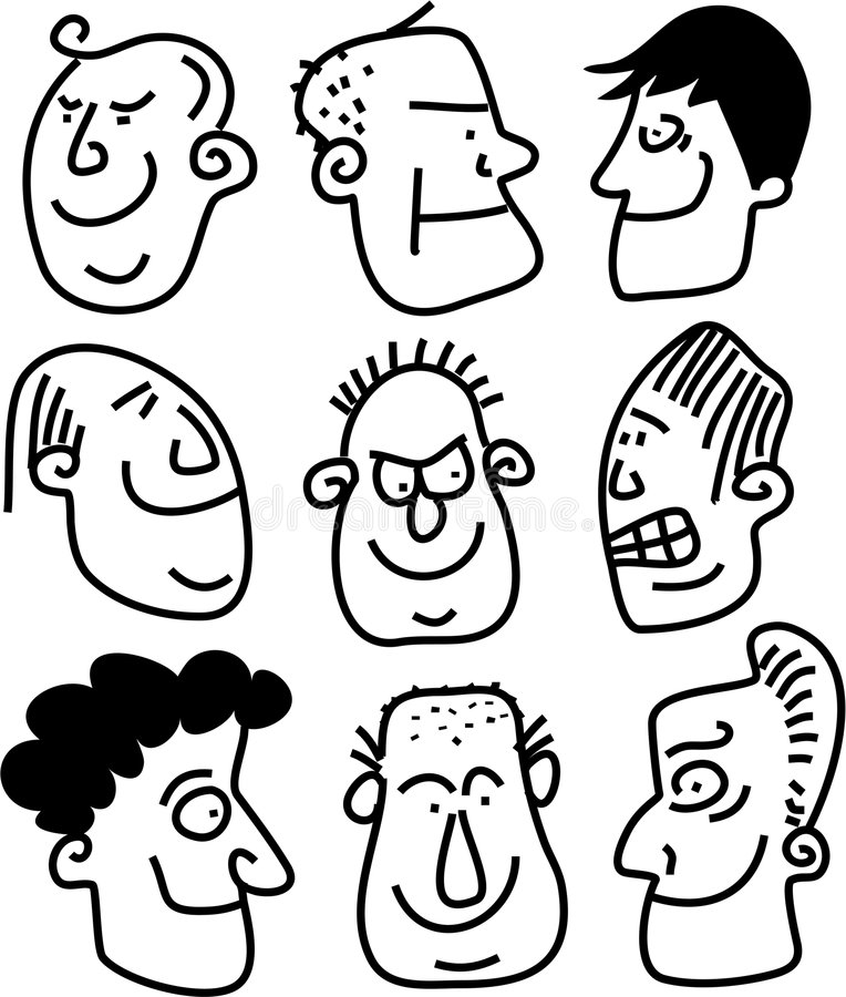 Expressive faces stock illustration. Image of society