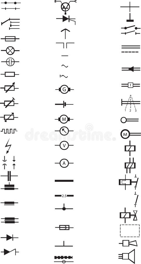 Extensive List Of Numerous Electric Signs Stock Vector