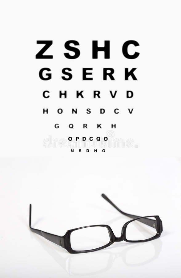 Eye glasses and test chart stock image. Image of visual
