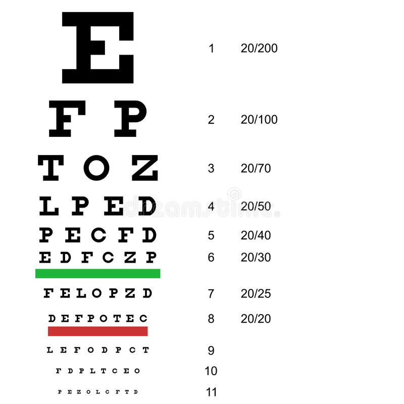 Eye Test Chart Use By Doctors. Vector Stock Vector