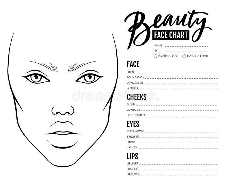 Face Chart Blank. Makeup Artist Vector Template. Stock