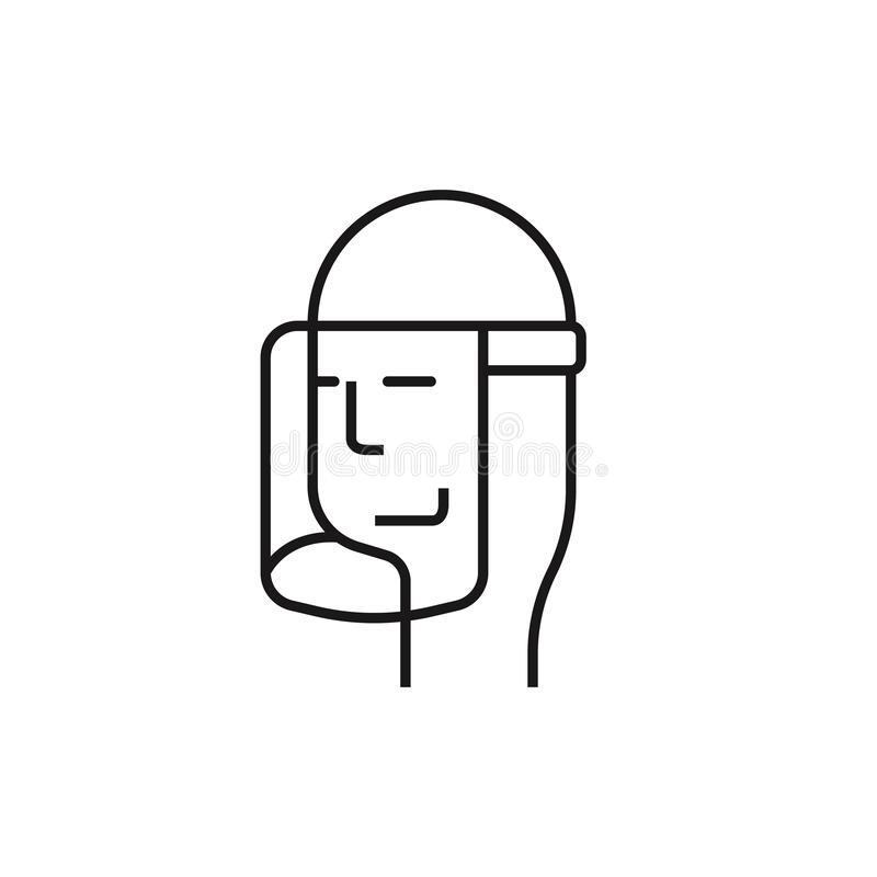 Wear A Face Shield Mask Line Icon Stock Vector