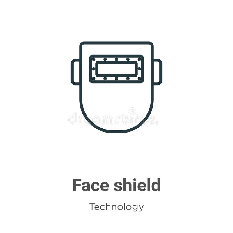 Helmet With Face Shield Line Icon Stock Vector