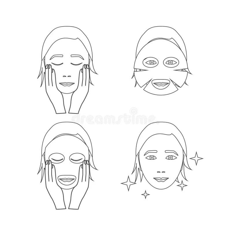 Facial Sheet Mask Outline. Vector Stock Vector
