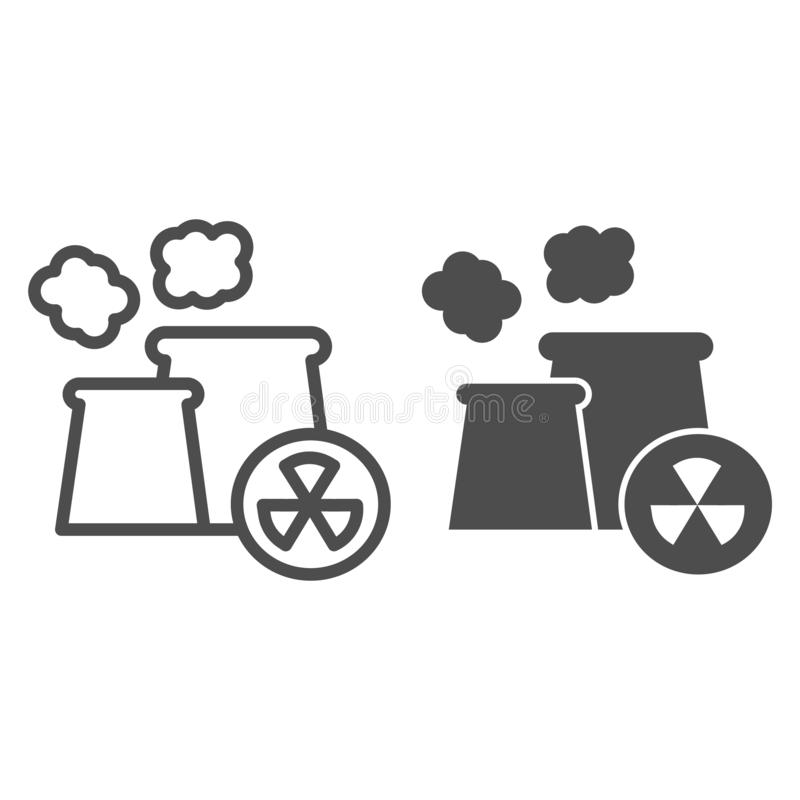 Nuclear power station stock illustration. Illustration of