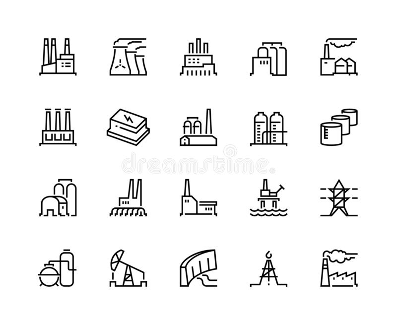 Building factory icons stock vector. Illustration of