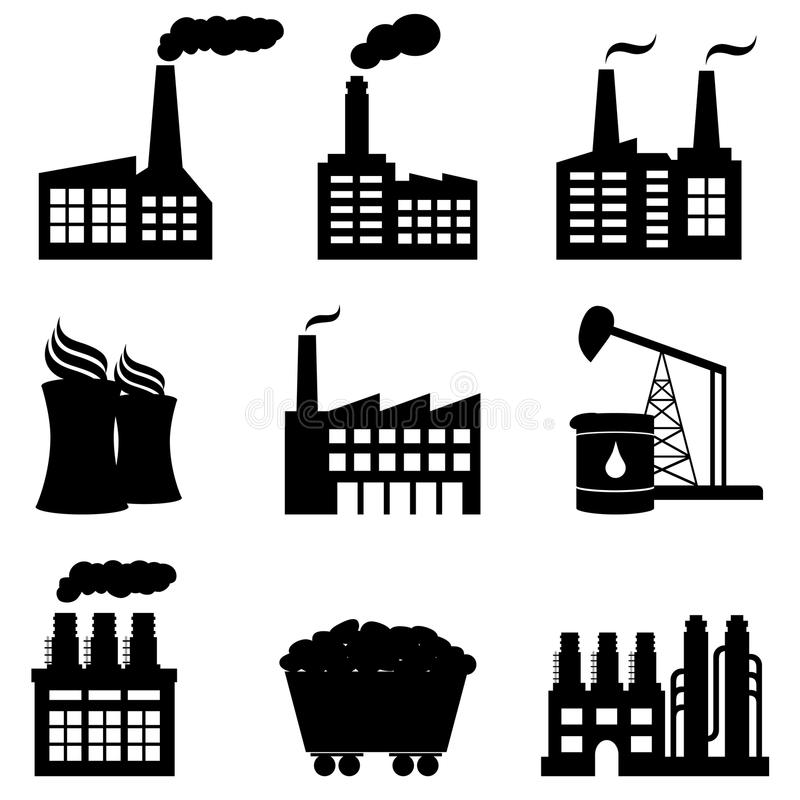 Factory, Nuclear Power Plant And Energy Icons Stock Vector