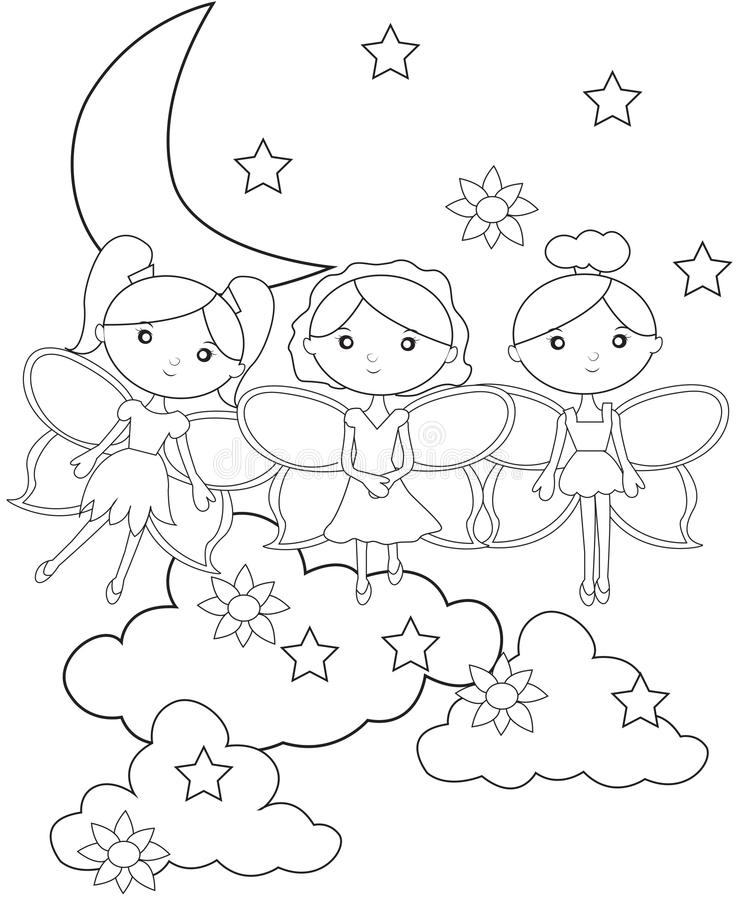 Fairies On The Sky Coloring Page Stock Illustration
