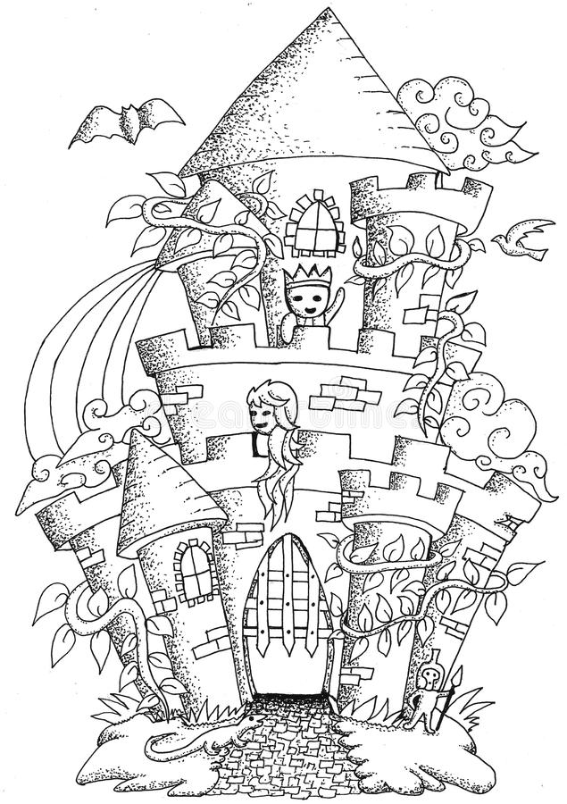 Fairy Tale Town Doodle Castile For Coloring Book For Adult