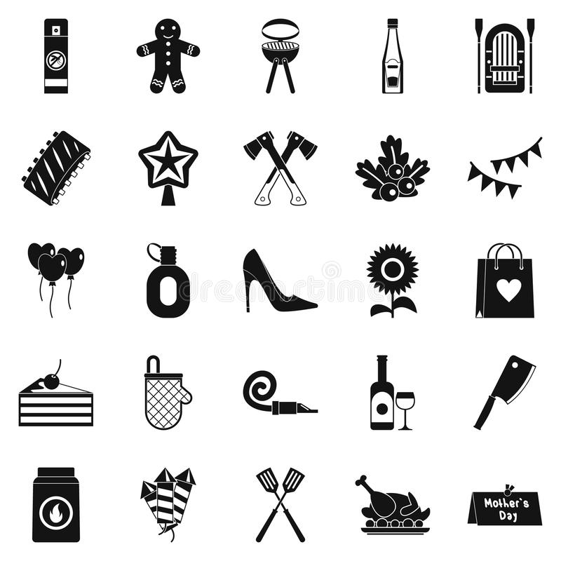 Family Reunion Icons Set, Simple Style Stock Vector