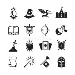 Fantasy Medieval Tale Vector Icons Mystery Magic And Knight Pictograms Stock Vector Illustration of graphic kingdom: 95496725