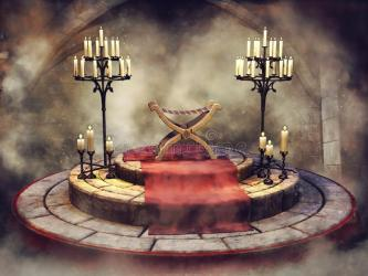 throne room fantasy carpet ancient medieval candelabras seat chamber illustration