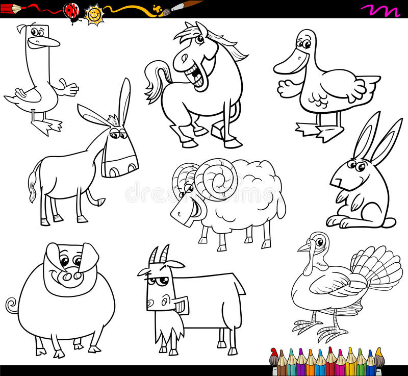 Farm animals coloring book stock vector. Illustration of