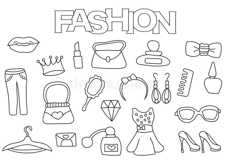 Fashion Elements Hand Drawn Set. Coloring Book Template
