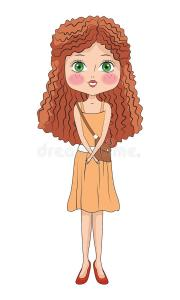 cartoon girl curly hair stock illustrations