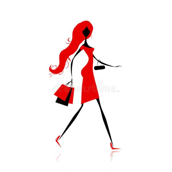 Fashion Girl With Shopping Bags Design Stock