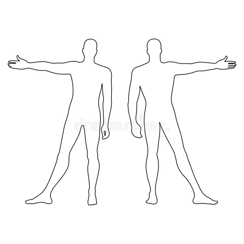 Fashion Man's Outlined Template Figure Silhouette (front