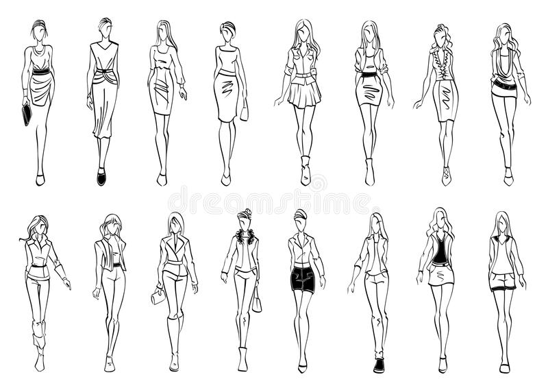 Fashion Models Shows Everyday Outfits Sketch Icons Stock