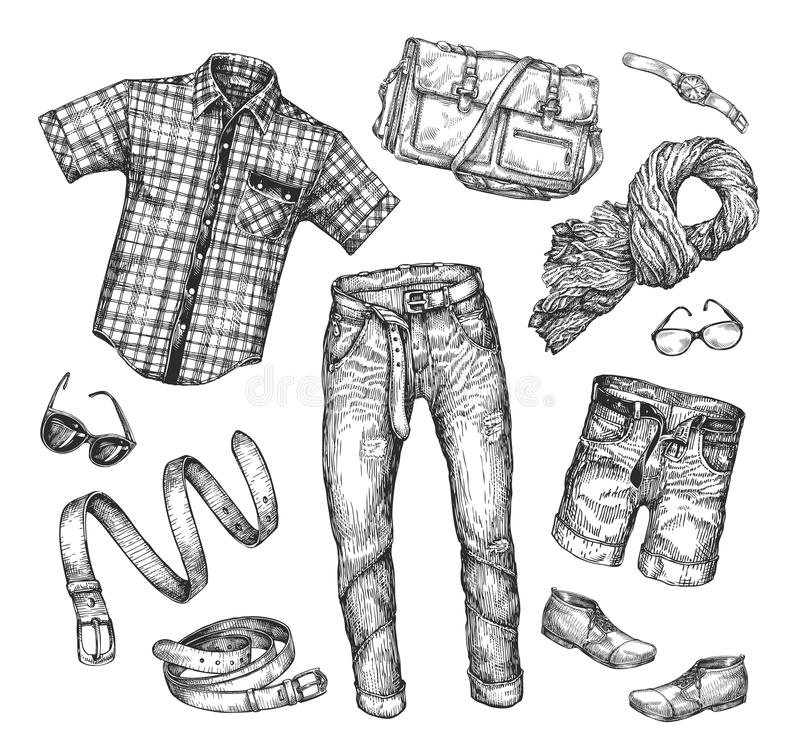 Fashion. Vector Collection Of Men Clothing. Hand-drawn
