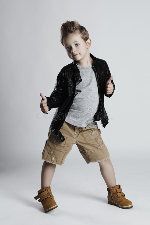 Fashionable Child In Leather Coatlittle Boy Hairstyle