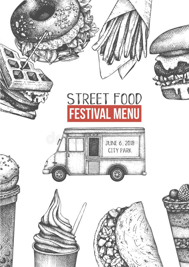 Food Truck Template stock vector. Illustration of drawing