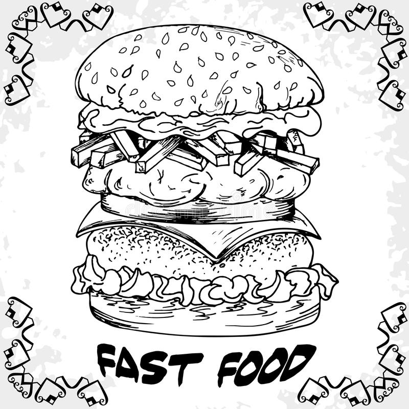 Fast Food Poster With Hamburger. Hand Draw Retro