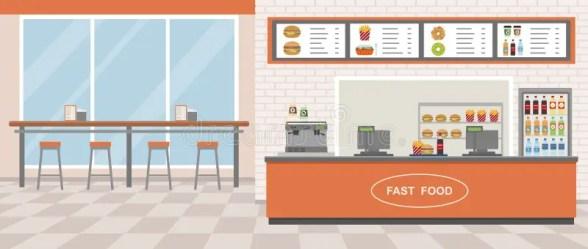 Fast Food Restaurant Interior Stock Vector Illustration of breakfast cooking: 101053799