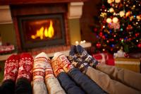 Feet In Wool Socks Near Fireplace In Winter Stock Image ...